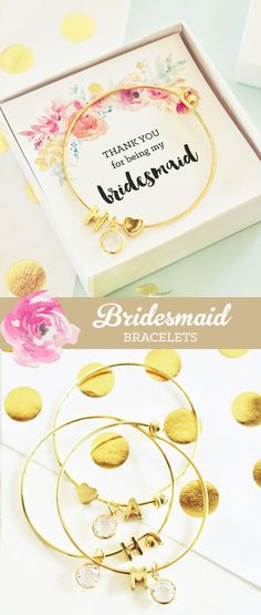 These chic bridesmaid bracelets make a unique gift for you bridal party - jewelry sets your friends will fall in love with! Add a rustic wedding themed gift box for a complete package - These Monogram Initial bracelets have a clear diamond like charm, heart charm & a single monogram initial