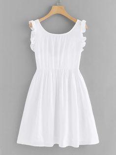 Shop Frill Trim Knot Back Dress online. ROMWE offers Frill Trim Knot Back Dress & more to fit your fashionable needs. Simple Dresses, Cute Dresses, Casual Dresses, Short Dresses, Girls Dresses, Summer Dresses, Casual Outfits, Girls Fashion Clothes, Girl Fashion