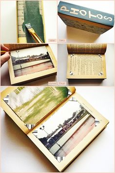 Book Photo Album + Photo Corners Reuse an old book for a photo album! Awesome way to repurpose old books. Faire Un Album Photo, Make A Photo Album, Book Projects, Diy Projects To Try, Photo Corners, Ideias Diy, Book Making, Make A Book, Altered Books