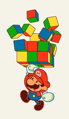 Comish - Mario and Rubiks by ghostcharmer.deviantart.com on @DeviantArt