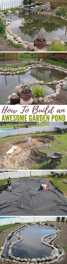 How To Build an Awesome Garden Pond — Garden ponds are not just for avid gardeners, they act as great water reservoirs that need little maintenance. Garden ponds can hold water to irrigate plants you have growing in your garden, or in a drastic water crisis, provide water for the family. #gardenponds