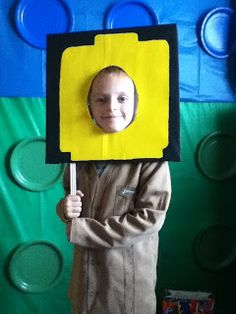 Coffee and Chocolate. What More Do You Need?: Lego Birthday Party! Lego photo backdrop prop Lego head pictures