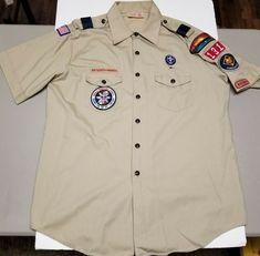 Shirt Boy Scouts of America BSA Tan Red Uniform Pocket Patch Tape Tab BSA B.S.A
