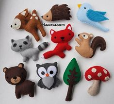 ✄ A Fondness for Felt ✄ DIY craft inspiration: woodland felt animals Felt Animal Patterns, Stuffed Animal Patterns, Felt Crafts Patterns, Fabric Crafts, Sewing Crafts, Craft Projects, Sewing Projects, Felt Projects, Woodland Mobile