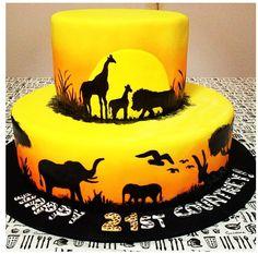 Thats awsome a Lion King cake! Jungle Theme Cakes, Safari Cakes, Jungle Party, Lion King Party, Lion King Birthday, Africa Cake, Zoo Cake, Airbrush Cake, Silhouette Cake