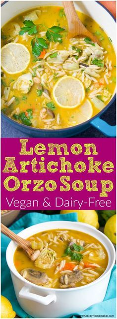 This nourishing vegan lemon orzo soup recipe has been fully loaded with the addition of artichokes, mushrooms, and great northern beans. Vegan.