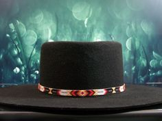 Native American Beaded Hat Band In The Diamond and Feather Pattern with the…