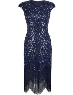 7b02acf9396 PrettyGuide Women Gastby Sequined Embellished Fringed Sparkly Flapper Dress  S Luxury Navy. Best Women Dresses