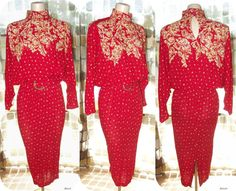 Vintage 80s Does 40s RED Batwing Wiggle Dress by IntrigueU4Ever