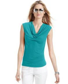 MICHAEL Michael Kors Petite Top, Sleeveless Cowl Neck - Womens Petite Tops - Macy's