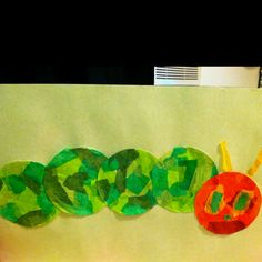 Hungry caterpillar collage activity using tissue paper to teach a lesson on Eric Carle's illustrations