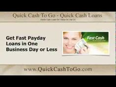 Get Fast Payday Loans in One Business Day or Less: http://youtu.be/YmwIw39S_9k Apply at www.QuickCashToGo.com #paydayloan #fashcash #cashloan