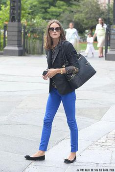 Olivia Palermo wearing Zara Silk Lace Blouse, Olivia + Joy Swanky Satchel in Black, Dittos Dawn Royal Blue Jeans Skinny Jeans and Rolex Oyster Perpetual Datejust Watch.
