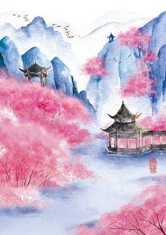 Japanese Drawings, Japanese Artwork, Japanese Painting, Sakura Painting, Cherry Blossom Painting, Cherry Blossoms, Japan Watercolor, Watercolor Art, Image Zen