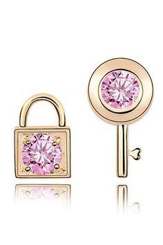 Crystal Lock & Key Artisan Crystal Earrings In Gold & Pink $24.99 - Beyond the Rack