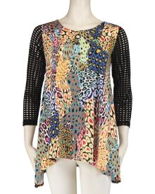 83831b35e4f Max & Rina Animal Print Mesh Sleeve Tunic For Less, Branding Design, Tunic  Tops