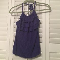SALE Banana republic ruffle halter top Worn once. 100% rayon. Three tiers with unfinished edges. Braided tie neck. Shelf bra. Also available in pink. No trades!! Banana Republic Tops
