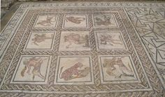 ancient roman city of Italica, Spain. Mosaic tiles from the baths