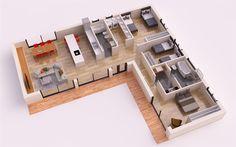 REUS 130 m2 está será L Shaped House Plans, 3d House Plans, House Layout Plans, Dream House Plans, House Layouts, Small House Plans, Container Home Designs, Container House Plans, House Construction Plan
