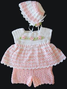 Baby girls have all the luck when it comes to dressing up in cute fashions. All 3 pieces coordinate with each other for a sweet, princess look. Basic crochet stitches are combined with a feminine design to give the bonnet and shorts a lacy appearance and the dress a full ruffle effect.    Adjusting the hook size allows you to make the outfit for sizes 0–6 or 6–12 months. This set uses a sport weight yarn to keep it lightweight and comfortable on your little girl.