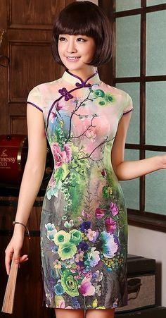 Modern Pure Silk Qipao Day Dress with Colorful Flowers Print Oriental Dress, Oriental Fashion, Asian Fashion, Chinese Fashion, Asian Style, Chinese Style, Pretty Dresses, Beautiful Dresses, Costume Steampunk