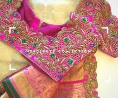 One of the must have combination Kanchipuram Saree! Needle eye clients don t go wrong in choosing the right designer. Beautiful pink color designer bridal blouse with thread work. Wedding Saree Blouse Designs, Pattu Saree Blouse Designs, Blouse Designs Silk, Blouse Patterns, Cut Work Blouse, Hand Work Blouse Design, Latest Maggam Work Blouses, Sumo, Blouse Models