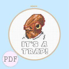 INSTANT DOWNLOAD Star Wars Cross Stitch PDF Pattern Admiral Ackbar