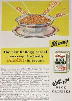 Kellogg's Rice Krispies Cereal Ad, Snap, Crackle, Pop, Vintage 1920s Good Housekeeping Magazine Advertisement. via Etsy.