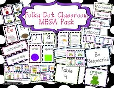 Super cute polka dot classroom decorations! (other themes available)