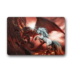 White Unicorn Horse Fighting with Evil Red Dragon 236 X 157 Inch Home Fashion Rectangle nonwoven fabric Custom Doormat Machinewashable NonSlip Rug *** Want to know more, click on the image. This Amazon pins is an affiliate link to Amazon.