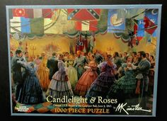 Civil War Themed 1,000 Piece Jigsaw Puzzle by White Mountain.  Title is Candlelight & Roses, General J.E.B. Stuart at the Culpeper Ball, June 4, 1863.  Theme:  Civil War, American History, Confederacy, ball, southern belles, soldiers