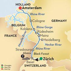 Rhine River Valley Map With Rhine Castles Between Koblenz Lahnstein