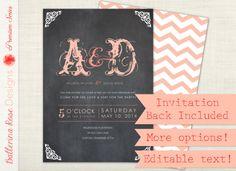 Chalkboard Chevron Wedding Invitation Set in Pink - more colors, blackboard, typography, rsvp card, thank you, digital file, DIY printable