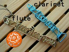 Clarinet, Flute, Oboe, Musical Instrument Wire Bending Ornament with Optional Custom Letters / Keychain / Pendant / Hanging Ornament The musical instrument series was inspired by a friend of mine who loves playing piano. He really liked it and asked for other instruments for his club friends. ...