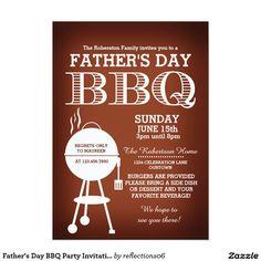 "#FathersDay BBQ #PartyInvitation 5"" X 7"" Invitation Card"