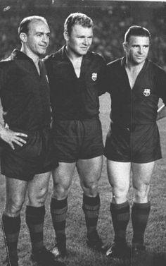 Di Stéfano, Kubala y Puskas con el uniforme del Barça