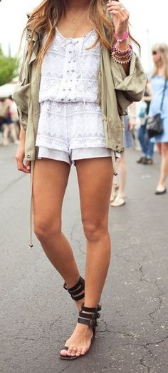 Cute festival outfit, love the romper.