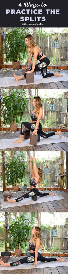 Yoga-Get Your Sexiest Body Ever Learn how to do split pose four different ways! Theres a variation for every yogi! Get your sexiest body ever without,crunches,cardio,or ever setting foot in a gym Vinyasa Yoga, Ashtanga Yoga, Kundalini Yoga, Yoga Fitness, Sport Fitness, Fitness Shirts, Fitness Workouts, Fitness Tips, How To Do Splits