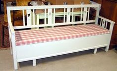 Bit 'cute' but nice shape. Scandinavian Benches, Kitchen Sofa, Toddler Bed, Furniture, Dreams, Home Decor, Homemade Home Decor, Home Furnishings, Decoration Home