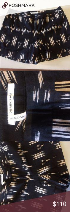 Derek Lam patterned linen/cotton black shorts Brand new! Derek Lam patterned linen/cotton black shorts. Size 8. Half cotton/ half linen black shorts with white pattern. Slit pockets in the back, gorgeous cuff on bottom of shorts. Stunning! 10 Crosby Derek Lam Shorts