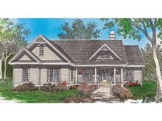 Eplans House Plan: Horizontal siding and charming multipane windows set off the exterior of this  lovely country home. Inside, the foyer leads to the great room, which has a  cathedral ceiling and a fireplace. Open planning