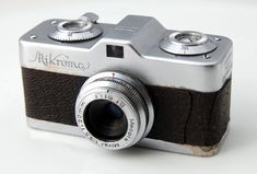 A Meopta Mikroma sub-miniature camera with f3.5/20mm Mirar lens from circa 1949. Made in Czechoslovakia, it takes single or double-perforated 16mm film wound into cassettes for up to 50 exposures