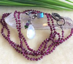 Rhodalite Garnet Knotted Necklace Moonstone teardrop Labradorite Oxidized Sterling Removeable Heart dangle holder 35 inches by IsaStone on Etsy