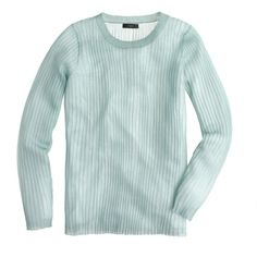 J.Crew Collection ribbed gauze sweater ($100) ❤ liked on Polyvore featuring tops, sweaters, holiday sweaters, green sweater, evening tops, special occasion tops and j crew top