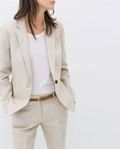 Women's Suits & Suit Separates - - Linen Blazer, Great for Layering Women Girl Work Office Long Sleeve Collared Blazer Suit Jacket Coat Outwear To Business Outfit Frau, Business Outfits, Business Attire, Office Outfits, Casual Outfits, Casual Blazer, Blazer Suit, Suit Jacket, Zara Blazer