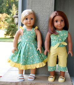 "Sewing for American Girl Dolls.. Dress made from the ""free"" Flutter-Sleeve Dress pattern from pacountrycrafts.com.  The top was made using the ""free"" reversible halter top pattern from Eden Ava.  I used the PLAYDATE (purchased) from carinagardner.com to make the pants."