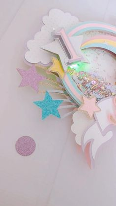 First Birthday Decorations Girl, Kids Party Decorations, Unicorn Birthday Parties, Unicorn Party, Light Up Balloons, Cake Rainbow, Cake Banner, Unicorn Cake Topper, Craft Materials