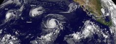 Four Tropical Cyclones Across the Entire Pacific Ocean. This GOES-West satellite image shows four tropical cyclones in the North Western, Central and Eastern Pacific Ocean on September 1, 2015.