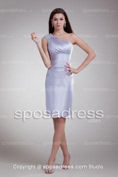 Column One Shoulder Knee Length Satin Lavender Cocktail Dress