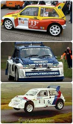 MG Metro 6R4 rally cars... Fabulous MG 6R4 built in conjunction with Williams F1...amazing rally car with serious loud grunt from it's turbocharged V6 power plant!